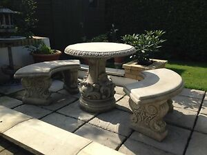 stone patio garden furniture sets for