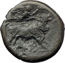 NEAPOLIS in CAMPANIA 270BC Nike Apollo Man-Headed Bull Ancient Greek Coin i73360