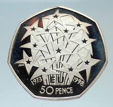 1998 GREAT BRITAIN United Kingdom Queen Elizabeth II SILVER 50 Pence Coin i75385