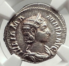JULIA MAMAMEA Authentic 222AD Rome Ancient Silver Roman Coin w JUNO NGC i72758
