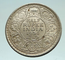 1936 INDIA UK King George V Silver Genuine Antique 1/2 RUPEE Indian Coin i76898