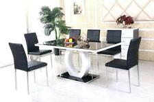 black kitchen tables island with bar and dining ebay white high gloss glass table set 6 leather chairs seats