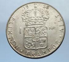 1956 Sweden GUSTAF VI Silver Krona Crowned ARMS Antique Vintage Coin i69873