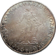 1956 AUSTRIA w Composer Musician Mozart Antique Silver 25 Schilling Coin i72043