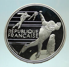 1990 FRANCE Speed Skating 1992 Olympics Proof Silver 100 Francs Coin i76890