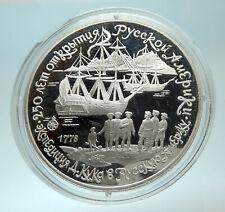 1990 RUSSIA Captain Cook Russian America Genuine Silver Proof 3 Coin i76604