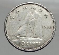 1965 CANADA Queen ELIZABETH II Silver 10 Cent SILVER Coin - BLUENOSE SHIP i63038