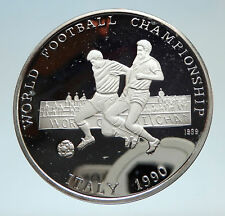1990 AFGHANISTAN FIFA World Cup Italy Soccer Football Proof Silver Coin i75293