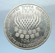 1974 F GERMANY 25 Years German Federal Constitution Law Silver Proof Coin i71934