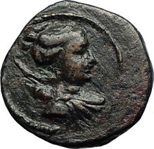 KYME in AEOLIS Genuine 100BC Authentic Ancient Greek Coin ARTEMIS & VASE i69967