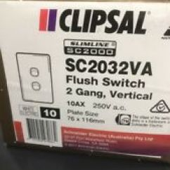 Light Switch Wiring Diagram Australia Hpm Airtex Fuel Pump Clipsal Switches Ebay Slimline10a 2 Gang Sc2032va Ha