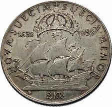 1938 SWEDEN w GUSTAV V ADOLF SWEDISH LARGE Genuine Silver 2 Kronos Coin i75386
