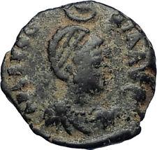 EUDOXIA Arcadius Wife 400AD Authentic Ancient Roman Coin GOD's HAND CROSS i67451