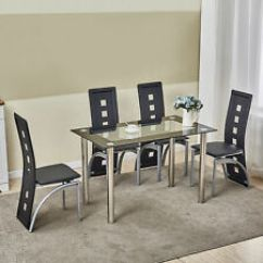 Set Of 4 Chairs Antique Wooden Dining Furniture Sets Ebay 5 Piece Table Black Glass Seats Kitchen Dinette Home Decor