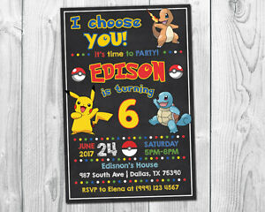 pokemon birthday greeting invitations