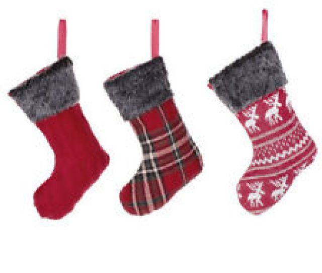 Set Of  Mini Small Fairisle Tartan Woven Hanging Cotton Christmas Stockings