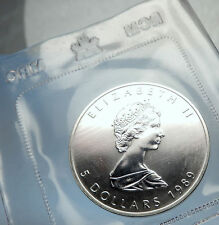 1989 CANADA Authentic Silver 1oz Coin UK Queen Elizabeth II & MAPLE LEAF i70907
