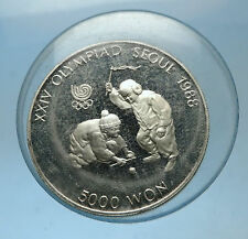 1988 SOUTH KOREA Seoul OLYMPIC GAMES Boys Spinning Top Proof Silver Coin i68600