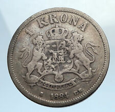 1884 SWEDEN King Oscar II Shield Old Antique Silver Krona SWEDISH Coin i74365