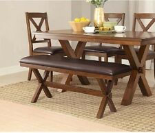 rustic dining table and chairs wicker uk tables ebay farm house kitchen farmhouse trestle 2 bench 3 piece set new