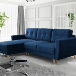 Corner Sofa Bed East London Cushion Repair Singapore Sectional Beds Ebay Royal Blue Navy Retro With Storage Sprung Seat