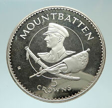 1980 TURKS AND CAICOS Lord Mountbatten Burma Genuine Silver 5 Crowns Coin i76866