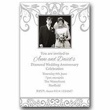 10 Personalised Photo Invitations 60th Diamond Wedding Anniversary M174