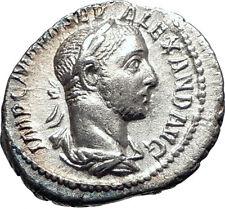 SEVERUS ALEXANDER sacrificing over altar 226AD Silver Ancient Roman Coin  i73405