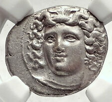 LARISSA THESSALY 356BC Rare R1 Ancient Silver Greek Coin NYMPH HORSE NGC i73336