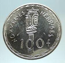 1966 New Hebrides Colony of France 100 Francs Silver BISJ Totem Pole Coin i76784