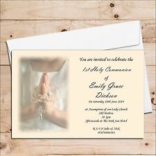 10 S 1st First Holy Communion Invitations Invites Personalised D15