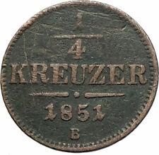 1851 AUSTRIA KING FRANZ JOSEPH I Eagle Genuine Austrian 1/4 Kreuzer Coin i76541