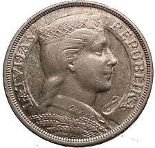 LATVIA 1931 5 Lati LARGE Vintage Silver European Coins FEMALE COAT ARMS i56131