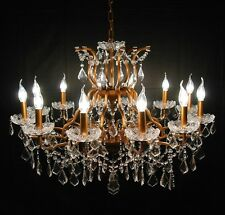 Large Antiqued Gold 12 Arm Branch French Style Shallow Cut Glass Chandelier