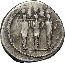 Roman Republic 43BC Larentia Hero Woman of Rome & Nymphs Silver Coin NGC i67818