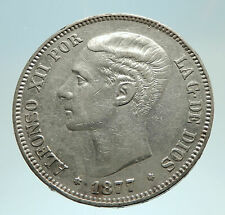 1877 SPAIN w King ALFONSO XII Antique Silver 5 Pesetas SPANISH Coin i76761