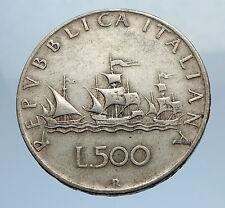 1959 ITALY - CHRISTOPHER COLUMBUS DISCOVER America SILVER Italian Coin i69753