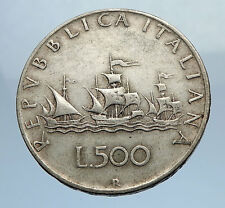 1959 ITALY - CHRISTOPHER COLUMBUS DISCOVER America SILVER Italian Coin i69753