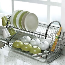 kitchen plates space saver design plate rack ebay 2 tier chrome dish cup drainer drip tray cutlery holder uk