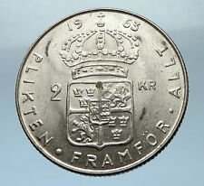 1963 SWEDEN King GUSTAV VI ADOLF 2 Kronor LARGE Silver SWEDISH Coin  i68224