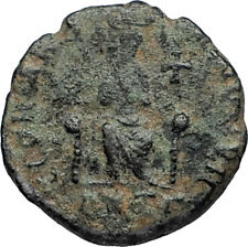 EUDOXIA Arcadius Wife 400AD Authentic Ancient Roman Coin GOD's HAND CROSS i67532