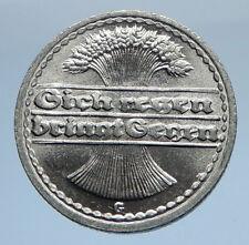 1922 G GERMANY Weimar Republic Aluminum 50 Pfennig German Coin WHEATSHEAF i69748