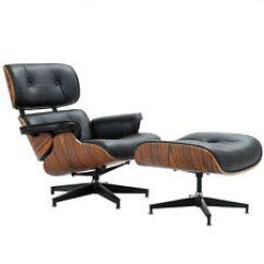 Black Chair And Ottoman Sponge Cushion Eames Chairs Ebay Classic Lounge 100 Grain Ltalian Leather Rosewood E