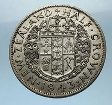 1943 NEW ZEALAND under UK King George VI Silver 1/2 Crown Coin Shield i68330