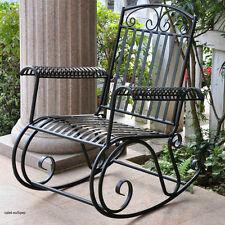 wrought iron rocking chair cedar adirondack chairs michigan black patio ebay rocker porch outdoor furniture metal garden