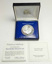 1975 BARBADOS Proof HUGE 4.2cm Silver 10 Dollars Coin w NEPTUNE Gift Box i76388