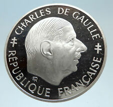 1988 FRANCE President Charles de Gaulle Antique Genuine Silver Franc Coin i75340