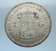 1923 Netherlands Kingdom Queen WILHELMINA 1 Gulden Authentic Silver Coin i68333