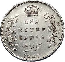 1907 King EDWARD VII of United Kingdom EMPEROR British INDIA Silver Coin i71903