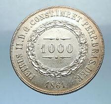 1861 BRAZIL Silver 1000 Reis Antique Brazilian Coin w Coat-Of-Arms i68506